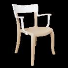 Кресло Papatya Hera-K песочно-бежевое сиденье, верх белый