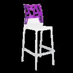 Барный стул Papatya Ego-Rock белое сиденье, верх прозрачно-пурпурный