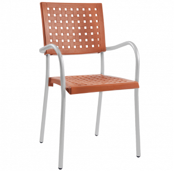 Крісло Papatya Karea помаранчеве, база алюміній