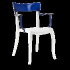 Кресло Papatya Hera-K белое сиденье, верх прозрачно-синий