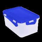 Судочек прямоугольный с зажимом 2,5л верх синий, низ прозрачный
