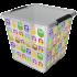 Бокс квадратный Orplast 18 л с крышкой клипсами декор Сова