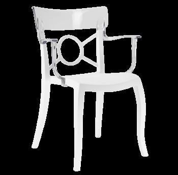 Крісло Papatya Opera-K сидіння біле, верх прозоро-чистий