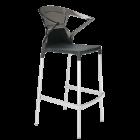 Барное кресло Papatya Ego-K черное сиденье, верх прозрачно-дымчатый