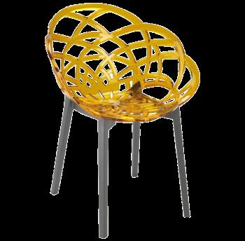 Кресло Papatya Flora прозрачно-желтое сиденье, низ антрацит