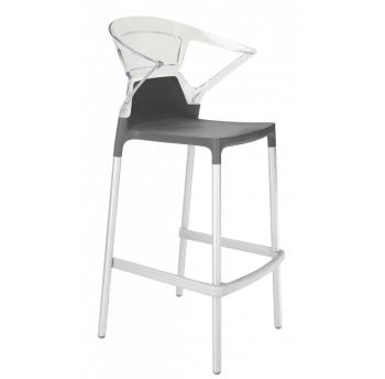 Барное кресло Papatya Ego-K антрацит сиденье, верх прозрачно-чистый