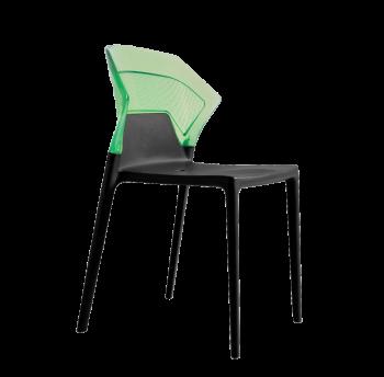 Стілець Papatya Ego-S чорне сидіння, верх прозоро-зелений