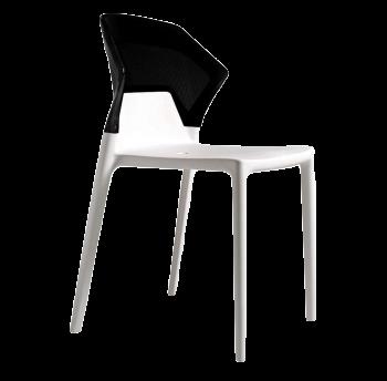 Стул Papatya Ego-S белое сиденье, верх черный