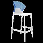 Барний стілець Papatya Ego-S біле сидіння, верх прозоро-синій