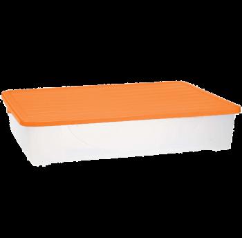 Контейнер для хранения вещей с крышкой 45л верх оранжевый, низ прозрачный