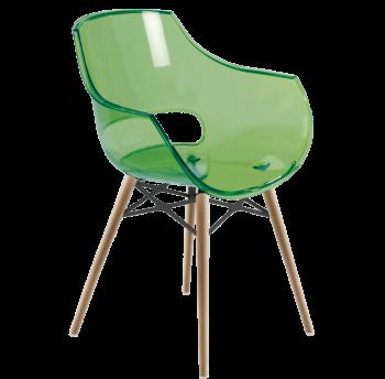 Крісло Papatya Opal-Wox прозоро-зелене, рама натуральний бук