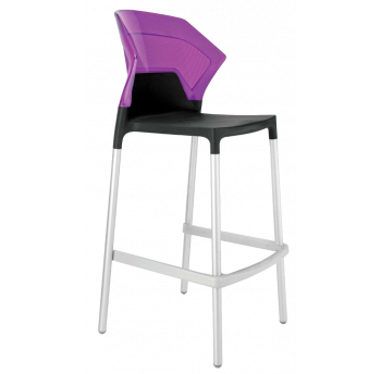 Барный стул Papatya Ego-S черное сиденье, верх прозрачно-пурпурный