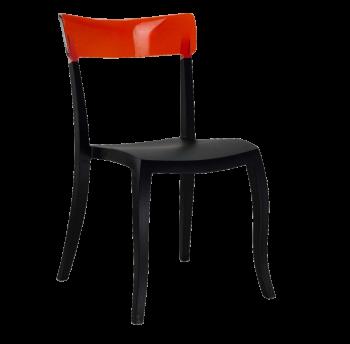 Стул Papatya Hera-S черное сиденье, верх прозрачно-красный