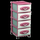 Комод пластиковый 4 уровня розовый