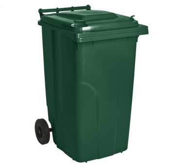 Бак для мусора на колесах с ручкой 240 л зеленый