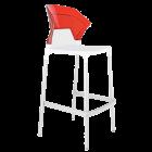 Барный стул Papatya Ego-S белое сиденье, верх прозрачно-красный