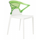 Крісло Papatya Ego-K біле сидіння, верх прозоро-зелений