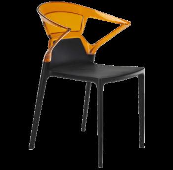 Крісло Papatya Ego-K чорне сидіння, верх прозоро-помаранчевий