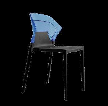 Стул Papatya Ego-S антрацит сиденье, верх прозрачно-синий