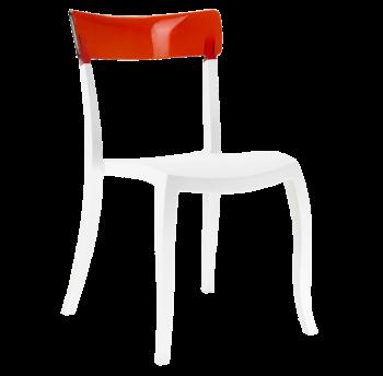 Стілець Papatya Hera-S біле сидіння, верх прозоро-червоний