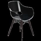 Кресло Papatya Opal-Wox прозрачно-черный, рама лакированный бук венге