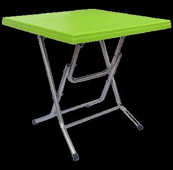Стол складной квадратный с металлическими ножками зеленый
