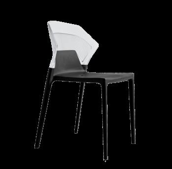 Стул Papatya Ego-S черное сиденье, верх прозрачно-чистый