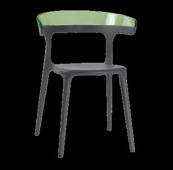 Кресло Papatya Luna антрацит сиденье, верх прозрачно-зеленый