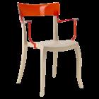 Крісло Papatya Hera-K пісочно-бежеве сидіння, верх прозоро-червоний