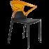 Кресло Papatya Ego-K черное сиденье, верх прозрачно-оранжевый