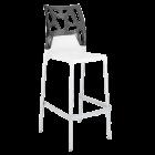 Барний стілець Papatya Ego-Rock біле сидіння, верх прозоро-димчастий