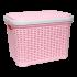 Корзина для белья под ротанг 20 л розовая