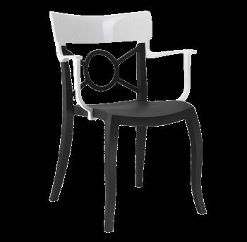 Крісло Papatya Opera-K сидіння чорне, верх білий