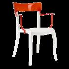 Крісло Papatya Hera-K біле сидіння, верх прозоро-червоний