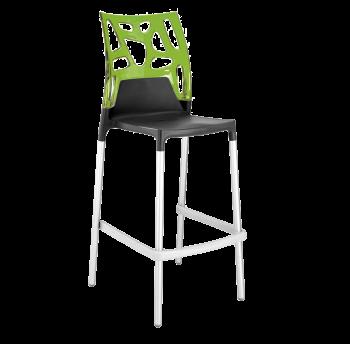 Барний стілець Papatya Ego-Rock антрацит сидіння, верх прозоро-зелений