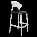 Барний стілець Papatya Ego-S чорне сидіння, верх прозоро-чистий