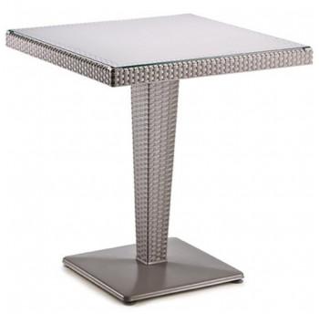 Стол под ротанг 70х70 на одной ножке Irak Plastik серый