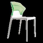 Стілець Papatya Ego-S біле сидіння, верх прозоро-зелений