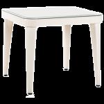 Стол Tilia Osaka 90x90 см столешница из стекла, ножки пластиковые кремовый