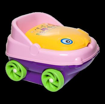 Горшок детский музыкальный розово-фиолетовый, желтая крышка