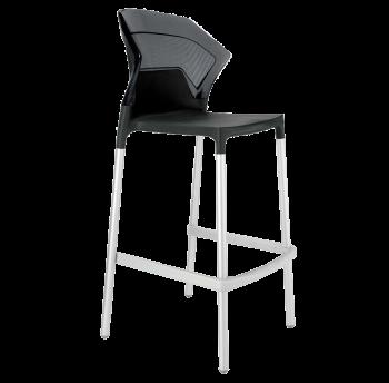 Барный стул Papatya Ego-S черное сиденье, верх прозрачно-дымчатый