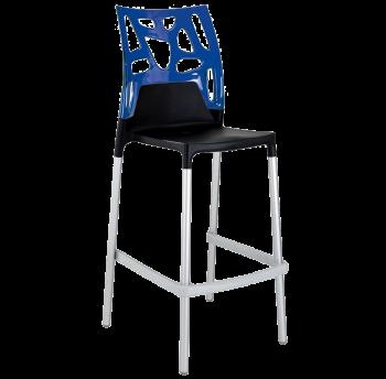 Барный стул Papatya Ego-Rock черное сиденье, верх прозрачно-синий
