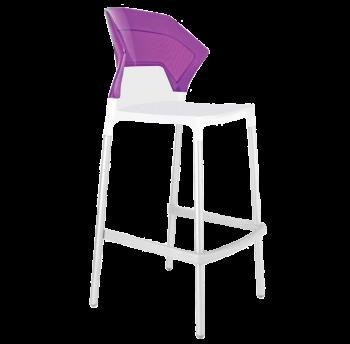 Барний стілець Papatya Ego-S біле сидіння, верх прозоро-пурпурний