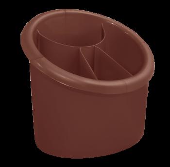 Подставка для столовых приборов овальная темно-коричневая