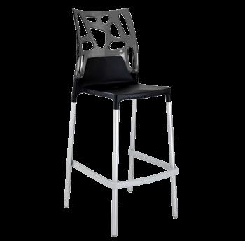 Барный стул Papatya Ego-Rock черное сиденье, верх прозрачно-дымчатый