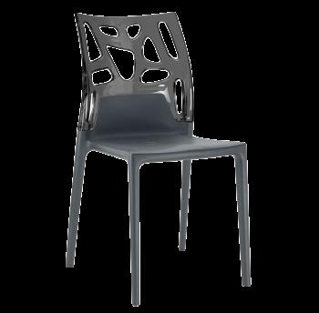 Стілець Papatya Ego-Rock антрацит сидіння, верх прозоро-димчастий