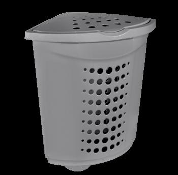 Корзина для белья (угловая) пластиковая 45 л серая