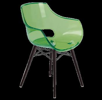 Крісло Papatya Opal-Wox прозоро-зелене, рама лакований бук венге