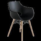 Кресло Papatya Opal-Wox матовое черное, рама натуральный бук
