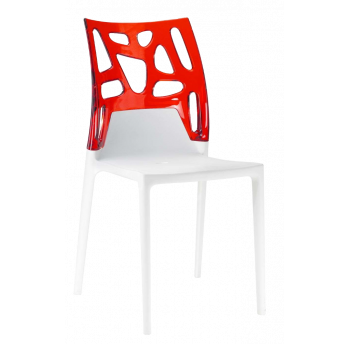 Стілець Papatya Ego-Rock біле сидіння, верх прозоро-червоний